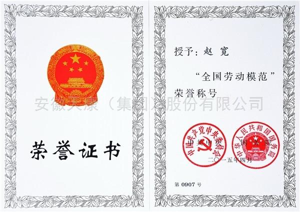 董事长荣获全国劳动模范荣誉证书