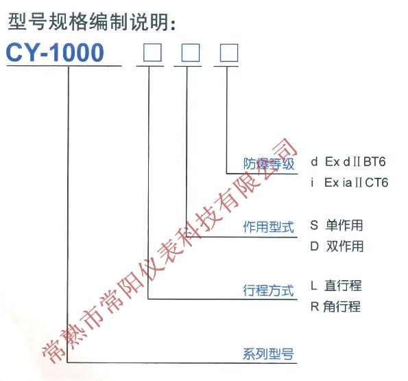 CY1000电气阀门定位器选型表